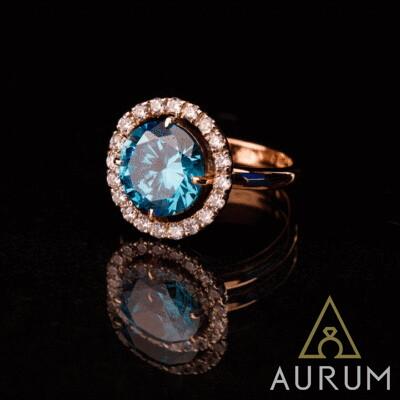 Заказать золотое кольцо с фианитом, фото
